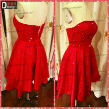 Surmount Real Sample Beautiful O Neck Knee Length Red Cocktail Dress 2014