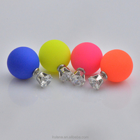 2015 fashion zircon crystal stud earrings sweet candy colored double-sided round hypoallergenic earrings