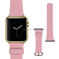 Genuine Leather Wrist Band with Stainless Steel Buckle, Adapter for Apple Watch
