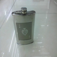 9oz stick to the poker series stainless steel hip flask