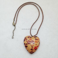 new fashion natural wood flower gilfriend heart shaped pendant necklace leather necklace