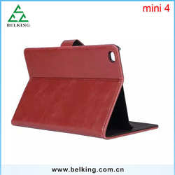 PU Stand For iPad Mini 4 Leather Case, High Qaulity Standing Wallet Card Slot Case For iPad Mini4