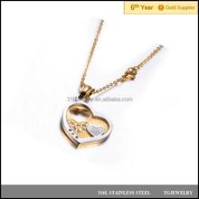 Valentine gift 2 tones gold stainless steel hollow heart couple love pendant diamond