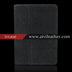 100% Genuine Leather Case For Ipad Air /Ipad 5,Auto Sleep/Awake Case For Ipad Air With Built-in Stand