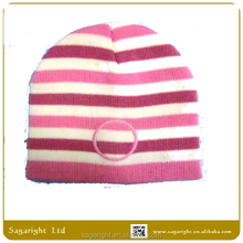 Winter Striped Pink Beanie Hat for Winter