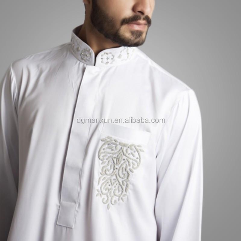 Newest Saudi Beaded Embroidered Jubbah Simple High Quality Dubai Men Thobe 3.jpg