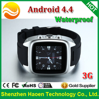 Factory Android 4.4 Hand Watch Waterproof with 512MB Ram 4G Rom Wifi 3G GPS Navigation Wrist Watch phone for fitness runners