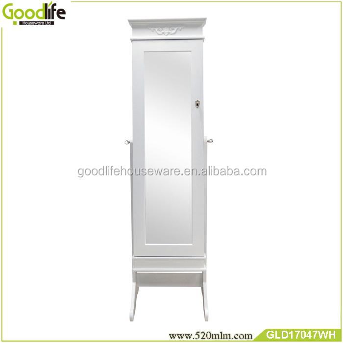 Деревянный шкаф для ювелирных изделений с зеркалом GLD17047WH