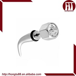 HT 316l Surgical Steel CZ Gem Curved Fake Cheater Plugs Taper