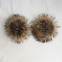 13cm Real Raccoon Fur Ball Raccoon Fur Pompons Hats Decorative Fur Ball