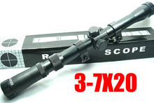 2015 Hot New Hunting 3-7x20 Mil-Dot Rifle Scope with Free Mounts Outdoor Airsoft Sight Telescope