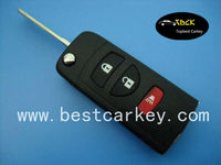 Best price 2+1 buttons flip modified remote key shell for Nissan key flip key Nissan