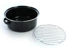 Para asar& platos sartenes parrilla/24 cm esmalte asador, esmalte ollas para asar, ronda parrilla de sartenes