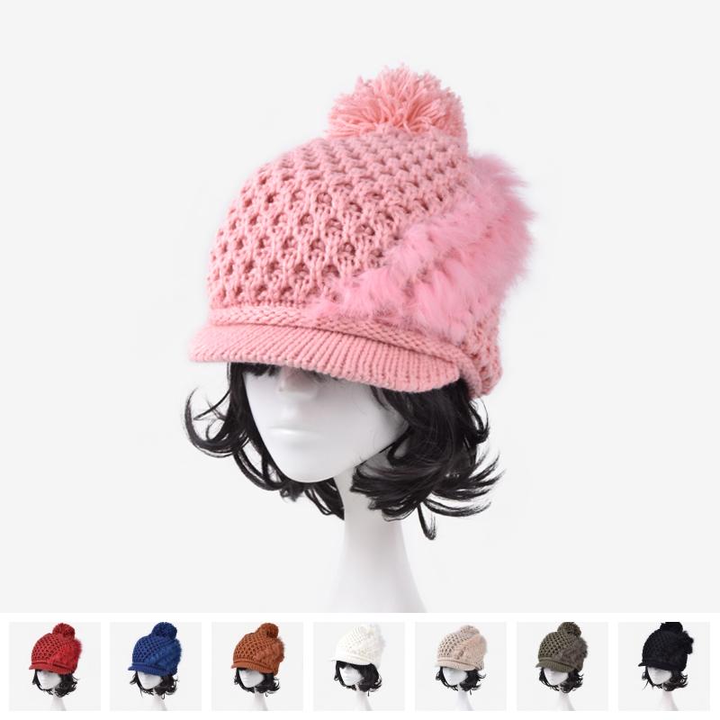 Alta calidad al por mayor piel mujeres invierno tejido de lana ...