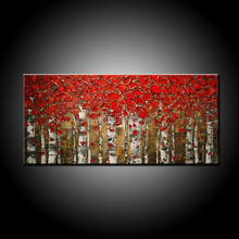 Manufacturer Wholesale High Quality Abstract Trees Oil Painting On Canvas Forest Birch Painting For Home Decoration Art Trees