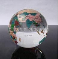 glass globe with color painting, crystal world globe quartz crystal sphere