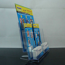 Double flyer stand acrylic flyer brochure display stand with pockets