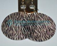 round custom animal zebra print natural shell earring