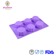 6 Cups Flower Shape Mold Silicone Muffin Pan, Cupcake Tray, Baking Pan,