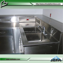 Stainless steel laboratory workbench, lab work table with sink