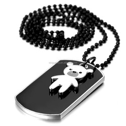 2pcs Lovely Black White Polished Stainless Steel Dog Tag And Bear Pendant Necklace