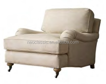 one seat classic sofa with four birch legs and linen cloth cover
