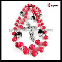 8mm red turquoise rosary with black onyx beads on steel wire