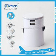 Black EVA Case 2 USB travel adapter Grey Red Green colorful Travel Charger 2 usb port