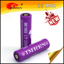 IMREN IMR18650 2250mAh 3.7V 40A high drain rechargeable battery with flat top