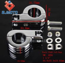 """1 1/4"""" Footrest Mounting Clamp Kit Chrome Footpeg Clamp Aluminum Motorcycle Foot Rest Clamps For All Engine Guard Chopper"""
