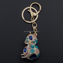 Fashion Crystal Bow Leaf Calabash Plant Metal Branded Keychains