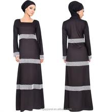 china wholesale latest design muslim dress women black muslim long sleeve maxi dress with hijab