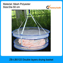 New style high quality double layer laundry Hang dry clothes basket, 2 tier wire basket, Drying Basket
