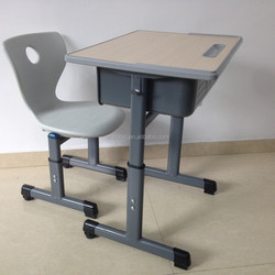 Modern student desk chair combo, student single desk and chair with height adjustable