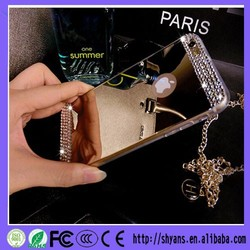 Luxury DIY Rhinestone Mirror Reflection Metallic Acrylic PC Cover For Samsung S4 5 6 Handmade Diamond Bling Phone Cases