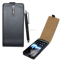 High Quality real genuine leather flip case For Sony Xperia S LT26I with free sreen protector and stylus pen