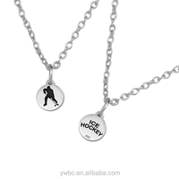 fashion antique silver hockey player and ice hockey both side discs pendant link chain jewelry necklace(A121820)