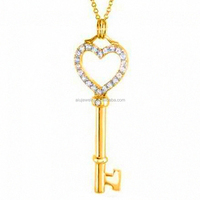 classical gold heart key chain charm pendant
