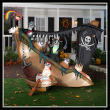 Halloween Inflatables Animated Skeleton Pirates on Shipwreck