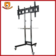 ST1800 Silver movealbe High Quality Factory Selling Trolley tv stand with DVD Tray and four Wheels movable lcd tv stand