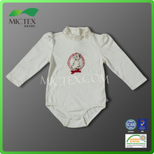 2015 new born baby body long sleeve romper new desin collar toddler printed romper