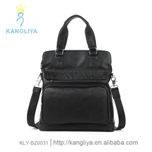 Long style man genuine leather with face pocket tote black handbags Guangzhou factory manufacturer