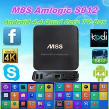 Dragonworth M8S internet Android 4.4 Smart TV Box Kodi xbmc streaming box Mali450 4K Amlogic S812 Kodi xbmc streaming box