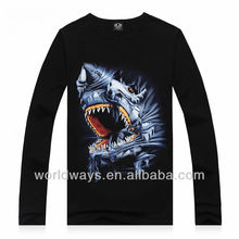 Tight fit long sleeve shark printed t shirt,quality t shirts wholesale