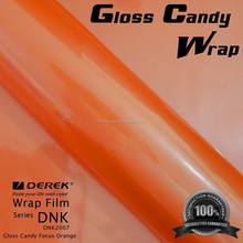 Derek New Style Glossy Pearl Orange Candy Vinyl Wrap Film with Air Channel and Imported Glue