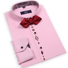 Solid Color Charm Man Dress Shirt Plus Size M-3XL Autumn Spring Grid Decorate Turn-down Collar Casual Men Cotton Shirts AX03001