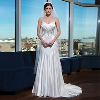 Elegant White Alibaba Taffeta Mermaid Wedding Dresses 2015 New Arrival with Beaded And straps vestidos de novia LW26
