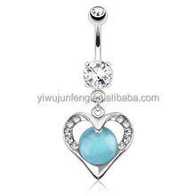 Hollowed Heart with Paved Gems Encasing Blue Cats Eye Gemstone Dangle 316L Surgical Steel Navel Ring