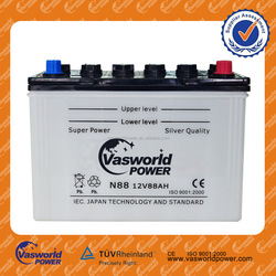 2015 the lowest Price dry charged car battery 12v 88ah lithium ion car battery sale N88