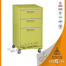Modern Office Furniture 3 Drawer Mobile Pedestal Cabinet / Outdoor Storage Cabinet Waterproof